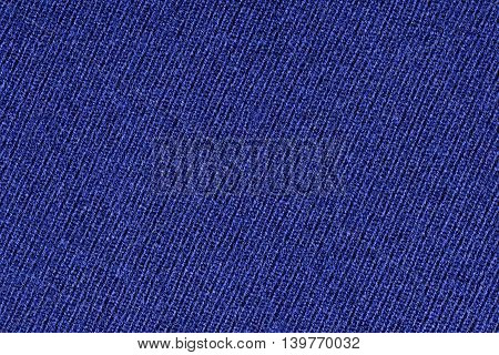 Blue polyester fabric texture background, close up