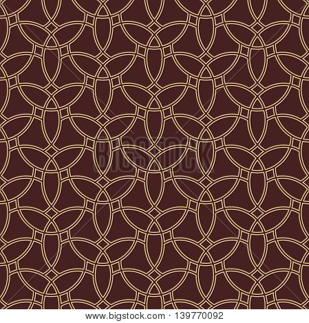 Elegant vector classic pattern. Seamless abstract background with repeating elements. Brown and golden pattern