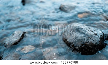 wet stones lie on the banks of the river, dark, brown, black,