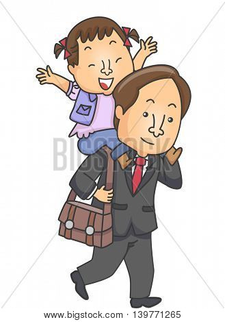 Illustration of a Father Carrying His Daughter on His Shoulders