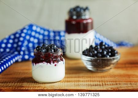 Yogurt with berries and jam, glass of healthy Breakfast every morning.