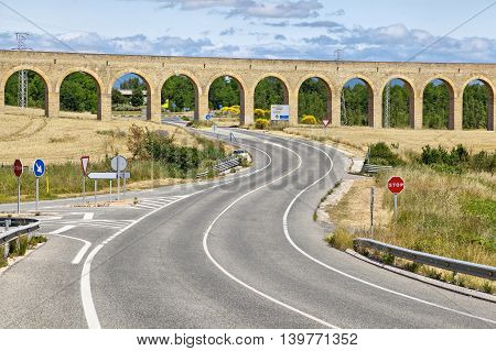 The Aqueduct of Noain built in 18th century near Pamplona Navarra Spain