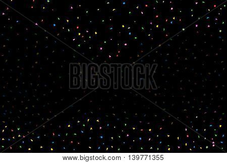 Black and faded falling confetti party background