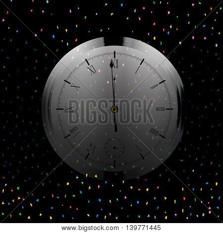 A Christmas and New Year clock showing almost midnight.