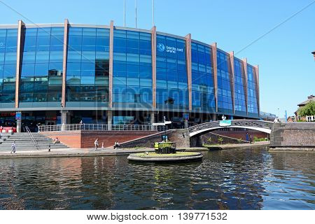 BIRMINGHAM, UNITED KINGDOM - JUNE 6, 2016 - View of the National Indoor Arena aka the Barclaycard Arena at Old Turn Junction Birmingham England UK Western Europe, June 6, 2016.
