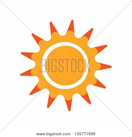 Collection of vector suns. Sunlight isolated design symbol hot nature drawing object. Sunshine weather heat sign summer yellow sunrise. Flat silhouette bright, summer style sun collection.