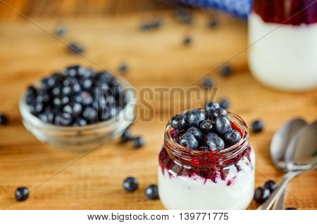 Yogurt with berries,  glass of healthy Breakfast every morning, superfood  concept