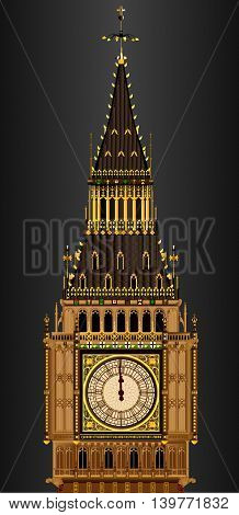 A detailed illustration of the Big Ben clock face about to strike midnight