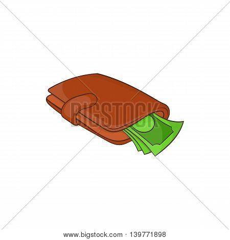 Purse with money icon in cartoon style isolated on white background. Finance symbol