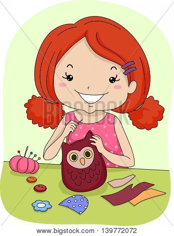 Illustration of a Little Girl Sewing a Toy Owl