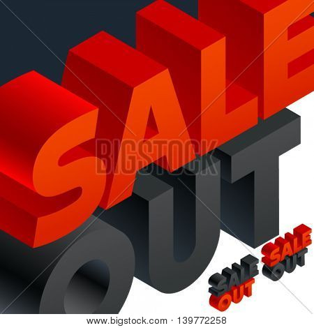 Vector banner with 3D volume letters. Three dimensional isometric text Sale out