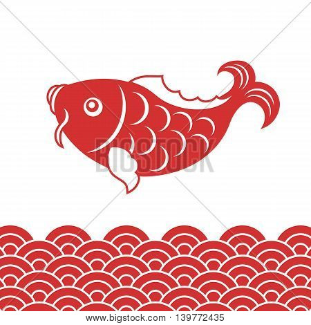 Vector carp fish and wave for Chinese new year