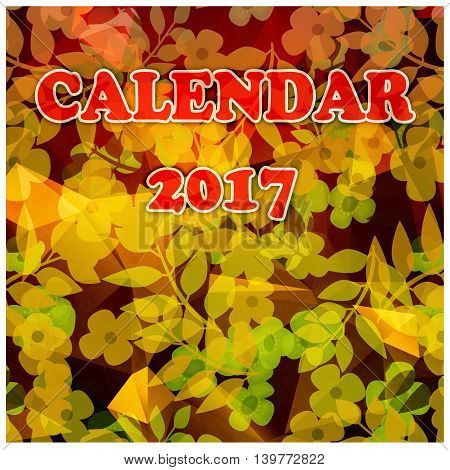 Floral cartoon cover of calendar of New Year 2017 illustration