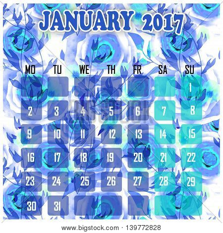 Floral 2017 calendar design for month January printable