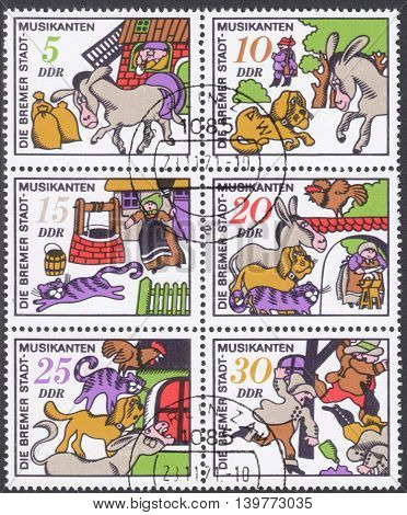 MOSCOW RUSSIA - CIRCA JANUARY 2016: a post stamp printed in DDR shows scenes from
