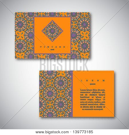 Set of cards flyers brochures templates with hand drawn flower mandala pattern. Vintage decorative elements oriental design. Indian asian arabic islamic ottoman motif.Vector illustration.
