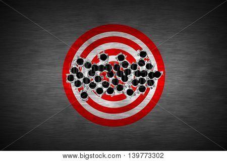 bullet hole on target. metal background. concept design. 3d illustration.