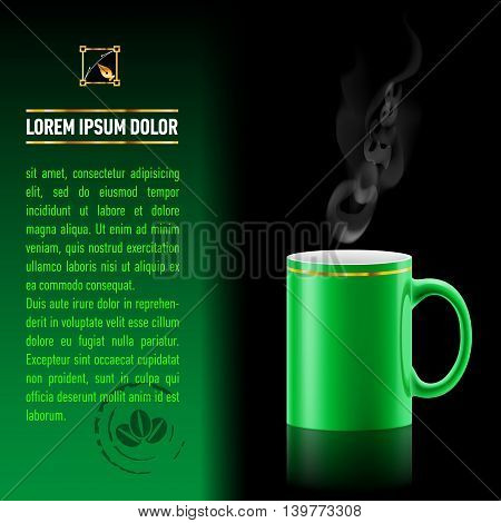 Green cup of coffee stay on black background. Next sheet of paper with the test