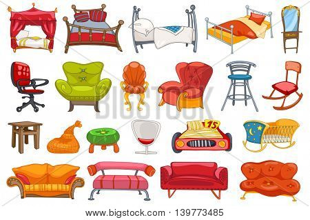 Set of various furniture such as sofa, armchair, bed, stool, office chair, rocking chair, cradle, couch, four-poster bed, dressing table and other. Vector illustration isolated on white background.