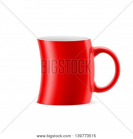 Red curve cup of something is on white background