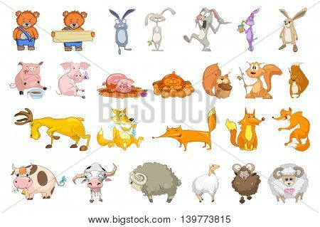 Set of animals illustrations. Collection of forest and domestic animals. Set of comic bears, rabbits, squirrels, pigs, sheeps, foxes, cows, deer. Vector illustration isolated on white background.