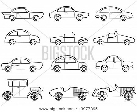 Vintage Cars Icons Set