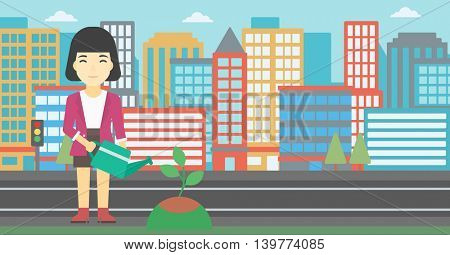 An asian young woman watering a tree on a city background. Eco-friendly woman takes care of the environment. Vector flat design illustration. Horizontal layout.
