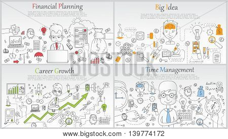 Doodle line design of web banner templates with outline icons of time management, career growth,big idea, content marketing. Modern vector illustration concept for website or info graphics