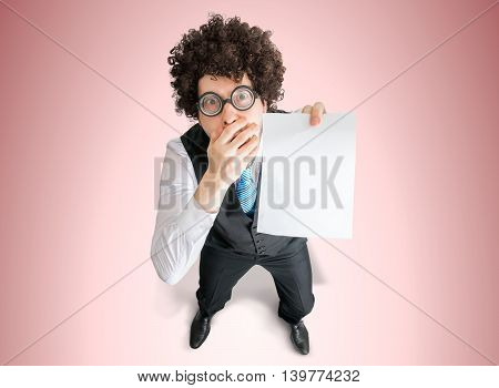 Top View On Disappointed Businessman Showing Blank Empty Paper F