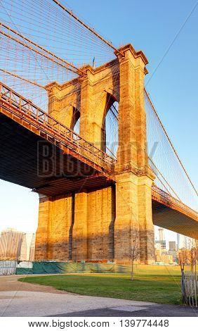 New York City - Brooklyn bridge USA at sunrise