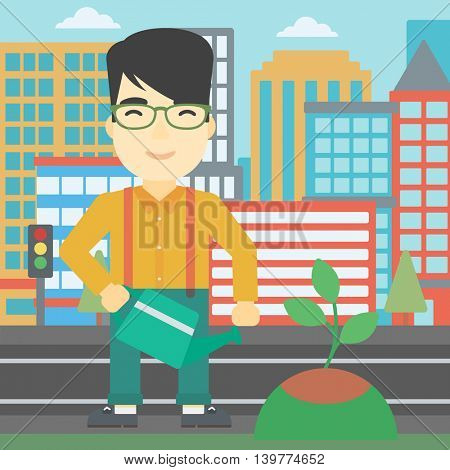 An asian young man watering a tree on a city background. Eco-friendly man takes care of the environment. Vector flat design illustration. Square layout.