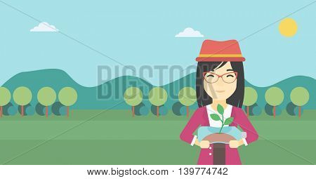 An asian young woman holding in hands plastic bottle with plant growing inside. Man holding plastic bottle used as plant pot. Recycling concept. Vector flat design illustration. Horizontal layout.