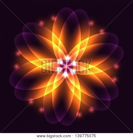 Abstract glowing light flower symbol of life and energy fire fractal. Vector illustration.