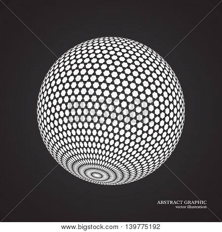 Abstract globe dotted sphere 3d dot effect. White color black background. Vector illustration.