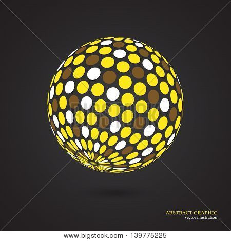 Abstract globe dotted sphere 3d dot effect. White yellow brown colors black background. Vector illustration.