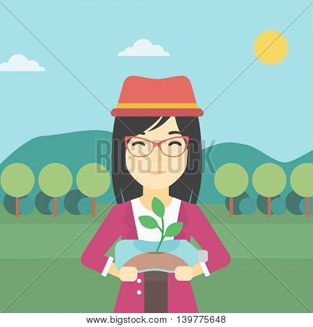 An asian young woman holding in hands plastic bottle with plant growing inside. Man holding plastic bottle used as plant pot. Recycling concept. Vector flat design illustration. Square layout.