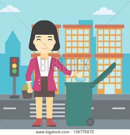 An asian young woman throwing away a garbage in a green trash in the city. Woman throwing away trash. Eco-friendly woman throwing trash. Vector flat design illustration. Square layout.