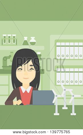 An asian woman working in office with laptop and model wind turbine on the table. Woman working with model wind turbines. Green energy concept. Vector flat design illustration. Vertical layout.