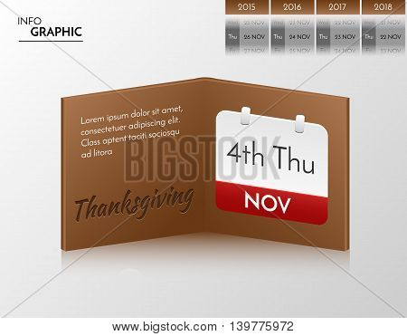 Brown vector banner for you own artwork. Infographic book with thanksgiving design.