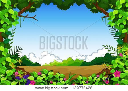 beauty green forest with grass landscape background