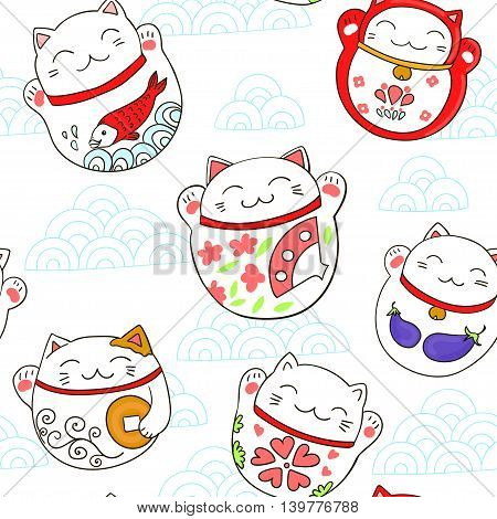 Seamless vector pattern with cats Maneki-neko, lucky charms.