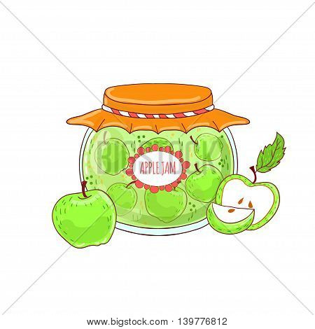 Lovely glass jar with apple jam drawn in animation style on a white background.