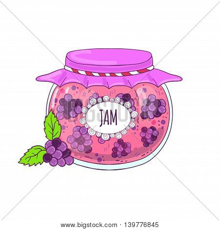 Berry jam in a glass jar, drawn in cartoon style.