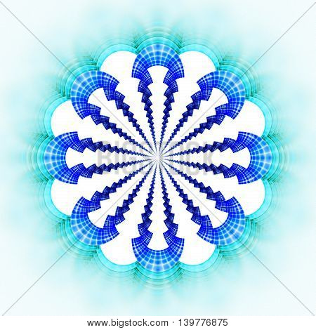 Abstract flower mandala on white background. Symmetrical pattern in bright blue colors. Fantasy fractal design for posters postcards wallpapers or t-shirts. Digital art. 3D rendering.