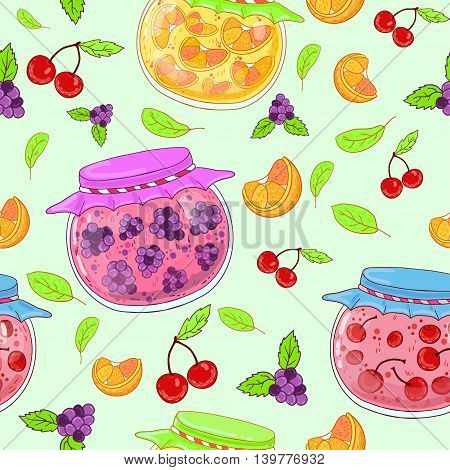 Seamless pattern with glass jars of cherry, berry, orange jam, cherries and blackberries .