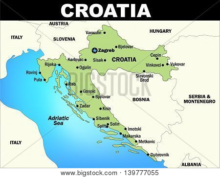 Colorized vector map of Croatia; Illustrator Version 10 EPS