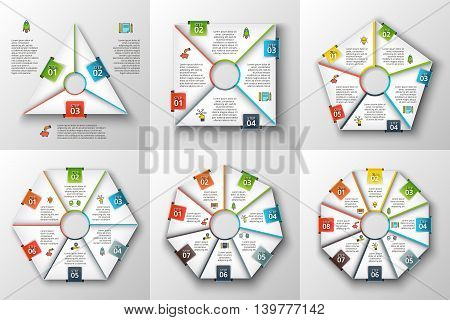 Set of geometric shapes for infographic. Template for cycle diagram, graph, presentation and chart. Business concept with 3, 4, 5, 6, 7 and 8 options parts, steps or processes. Data visualization.