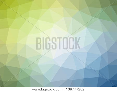 Abstract green blue white gradient low polygon shaped background.