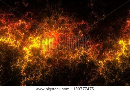 Fiery splash. Abstract flames on black background. Fantasy fractal texture in black orange and yellow colors. Digital art. 3D rendering.