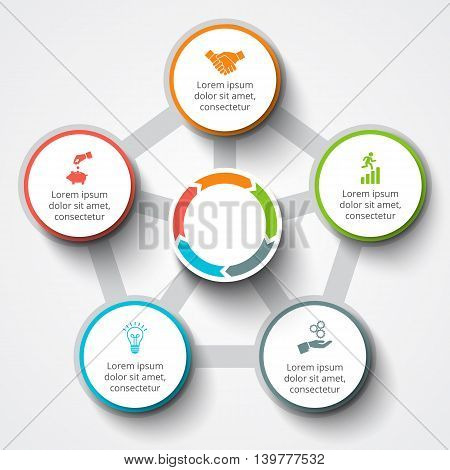 Vector infographic design template. Business concept 5 with options, parts, steps or processes. Can be used for workflow layout, diagram, number options, web design. Data visualization.